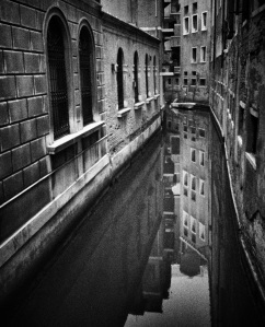 Black and White Photograph of Venice Canals taken with iPhone4