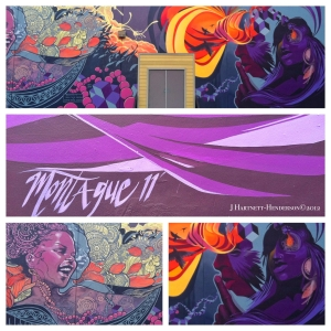 The Color Purple photograph and arrangement by Jennifer Hartnett-Henderson, street art by Montague