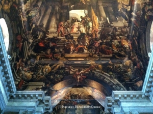Original iPhone photo of fantastic church ceiling fresco in Italy