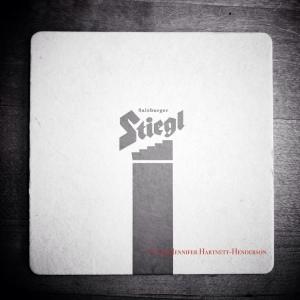 Stiegl Coaster in BW iphone photo by Jennifer Hartnett-Henderson © 2013