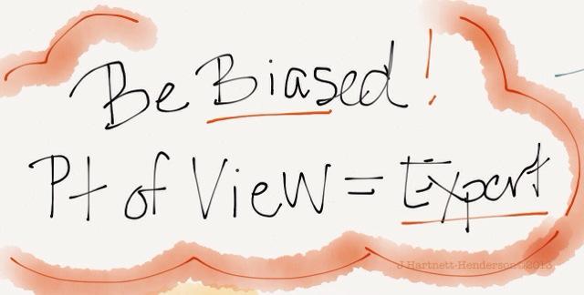 Be Biased, Sketchnote from Daniya Kamran's talk Translating Science into Poetry, Write the Docs Conference, by Jennifer Hartnett-Henderson ©2013