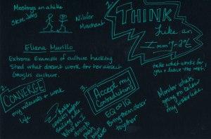 Gina Rudan on Hacking Culture, Sketchnote by Jennifer Hartnett-Henderson ©2014