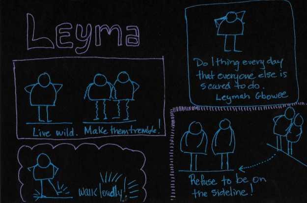 Speaker: Leyma Gbowee. Sketchnote by Jennifer Hartnett-Henderson ©2015