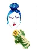 Blue Bun Lady with Rose005editedforweb