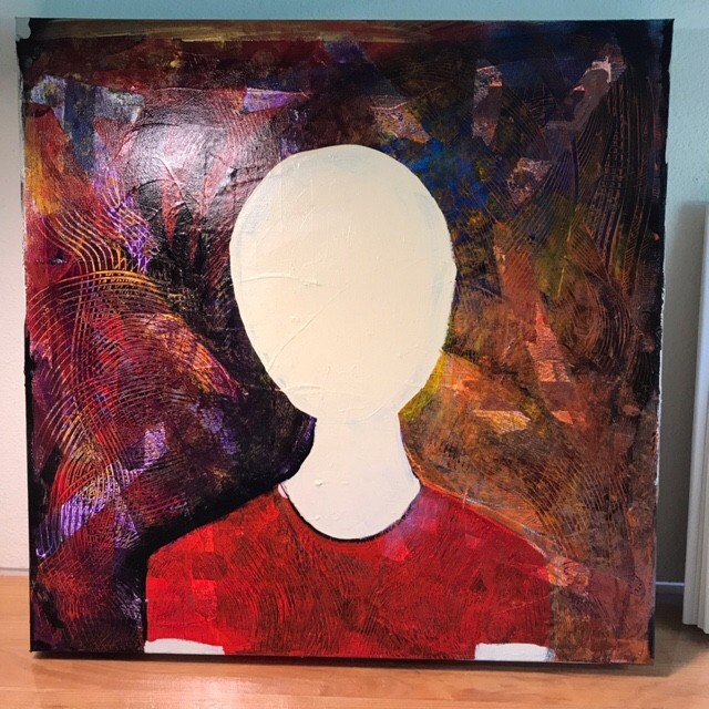 painting of a faceless head on top of torso against a highly textured background