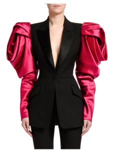 A model wearing a black jacket with an extreme princess sleeve by the brand Alexander McQueen in 2019