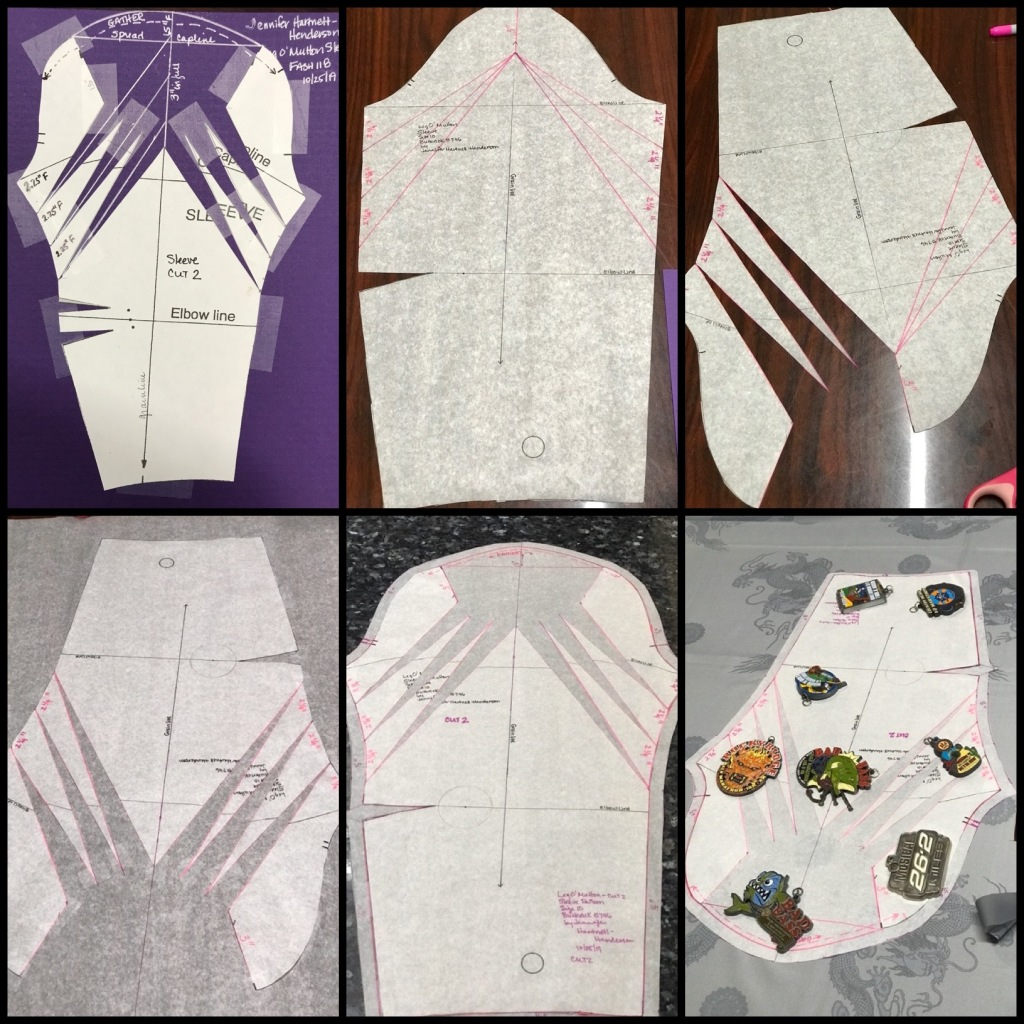 A photo of each of the first 6 steps in the process of making a pattern