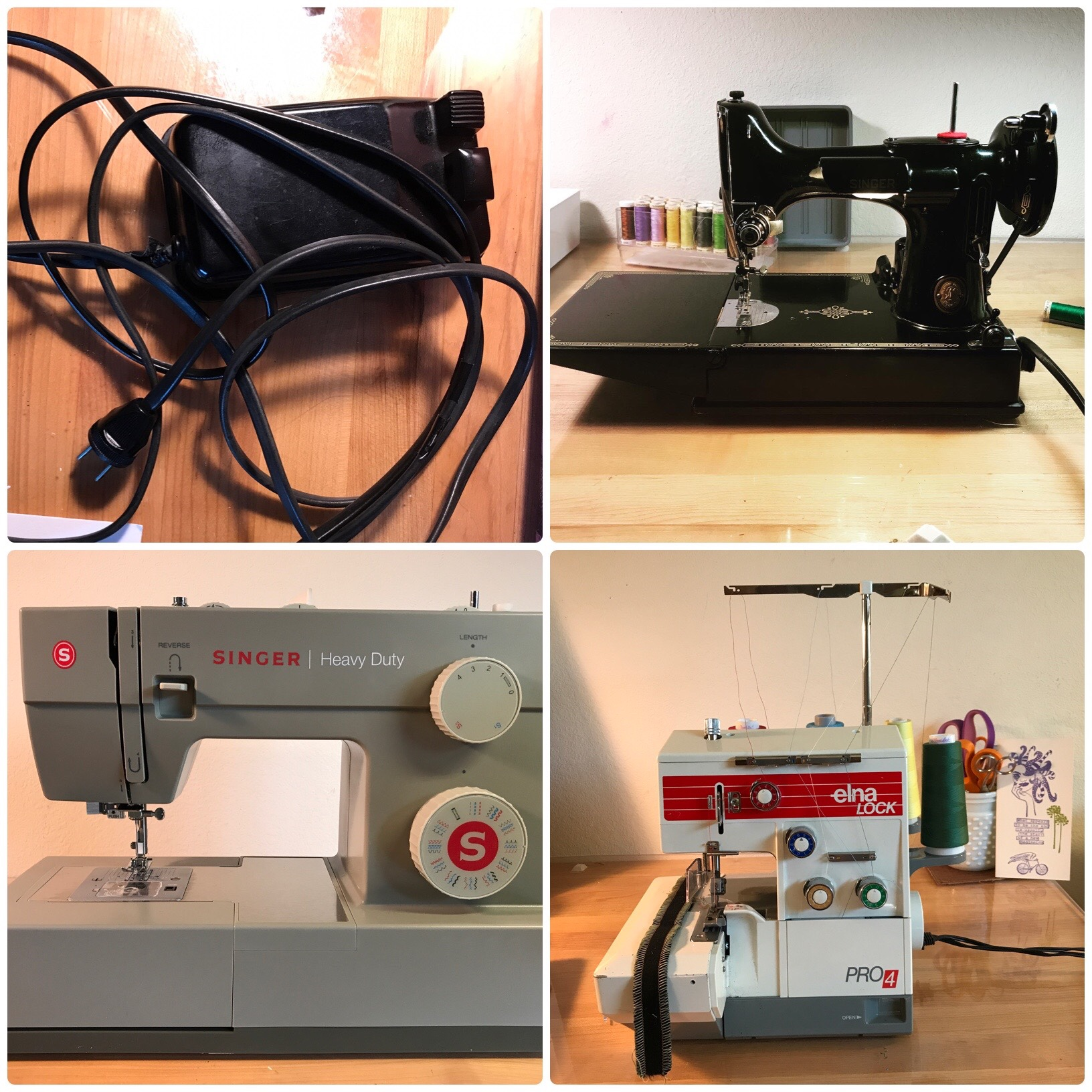 Sewing Equipment: a Singer Featherweight sewing machine and foot controller, a Singer Heavy Duty sewing machine and an Elna Lock serger
