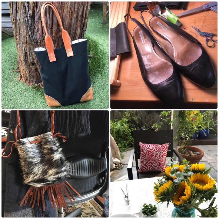 A black canvas tote bag, a pair of black sling-back flats, a red patterned chair pillow, a cowhide pouch with suede fringe
