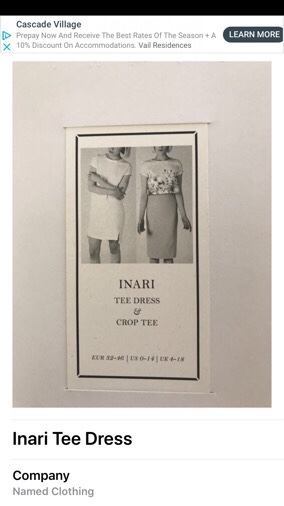 Inari Tee Dress Pattern image in the app along with the name of the company that made it, Named Clothing