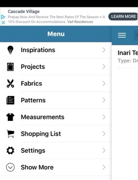 iSewMe hamburger menu showing inspirations, projects, fabrics, patterns, measurements, shopping list, settings and more.