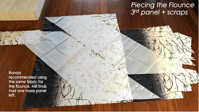 2 huge flounce pattern pieces laid out across 1 panel of fabric plus various scraps in preparation for cutting.