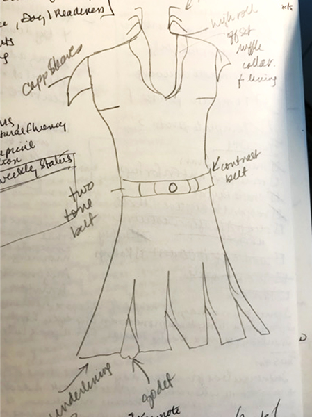 Rough pencil sketch of a dress with a shawl collar, cap sleeves, a contrast belt and godets in the skirt.