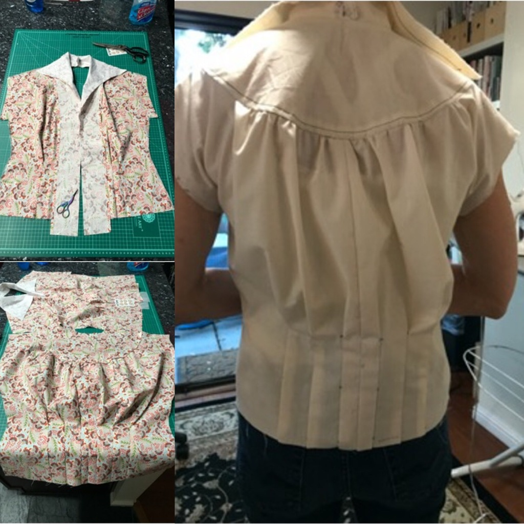 The blouse back made in muslin. The blouse front and back in floral fabric in construction.
