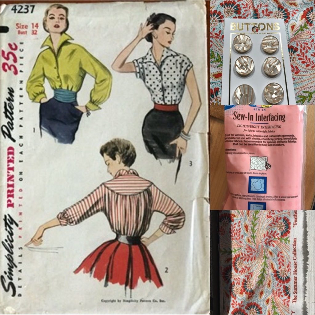 This collage the front of the pattern, the fabric, interfacing, and buttons.