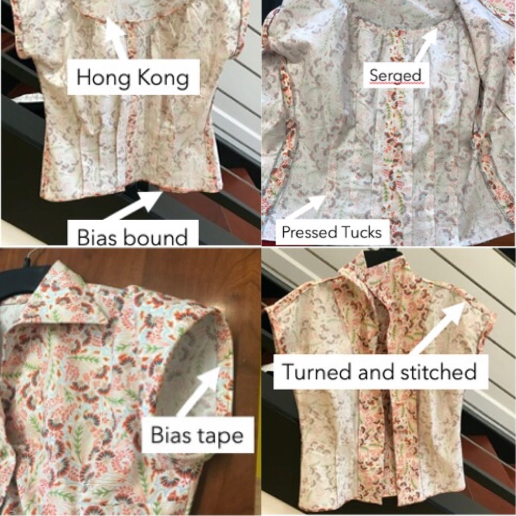 This collage has images of the shirt inside out with the seam finished spelled out and pointed to: Hong Kong bound gathers Bias bound hem Serged gathers Pressed tucksTurned and stitched shoulder binding Bias tape sleeve binding