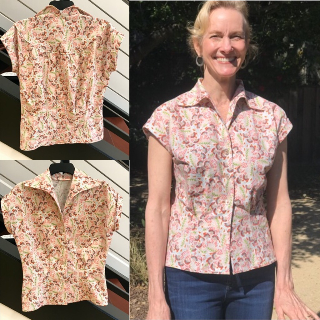 This collage shows the finished shirt front, the finished shirt back, and the author in the shirt squinting in bright sunlight